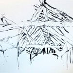Barn roof 1987 ink on paper 54x73cm Private collection