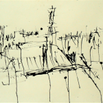 Calligram city 1987 ink on paper 54x73cm Private collection