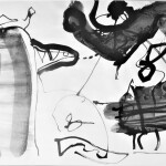 Joan Collins walks her dog 1990  ink on paper 156x76cm Private collection
