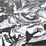 Rock flow 1 1988 ink on paper 56x76cm