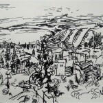 Insect city 1989 pen and ink 13x19cm
