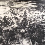 The storm 1989 charcoal on paper 55x75cm